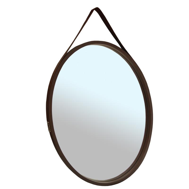 Espelho Oval Madeia e Alça em Couro